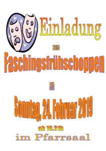 Plakat zum Faschingsfrühschoppen am 24.02.2019 um 10.31 in St. Peter und Paul