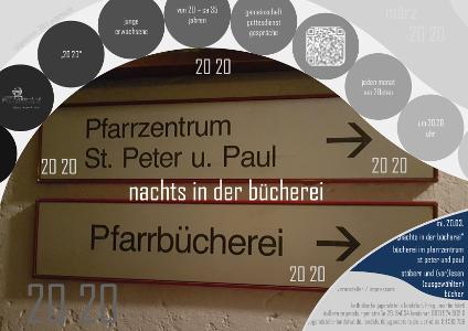 Plakat der katholischen Jugendstelle: Nachts in der Bücherei am 23.03.2019 in der Pfarrbücherei St. Peter und Paul