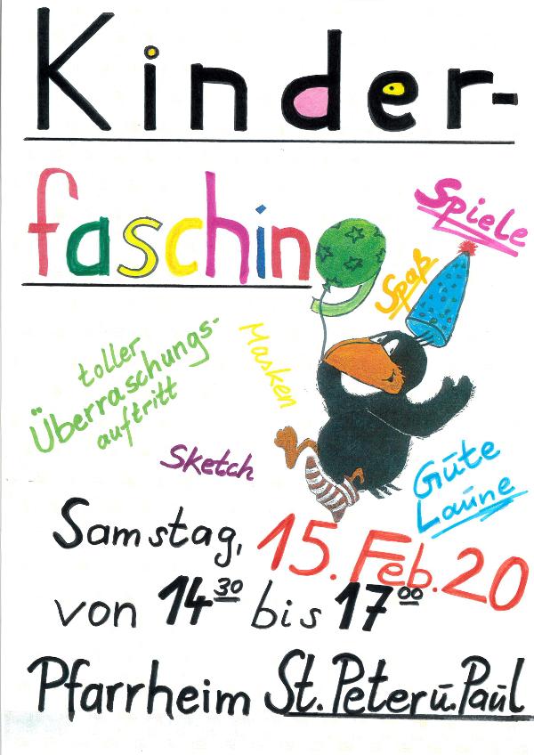 Kinderfasching am 15.02.2020 ab 14.30 Uhr im Pfarrheim St. Peter und Paul